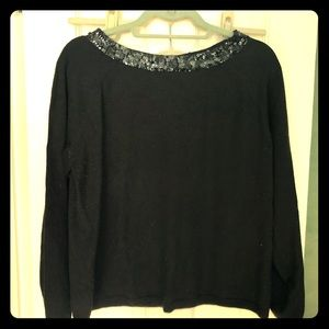 Black pull over sweater with glitter collar 14/16